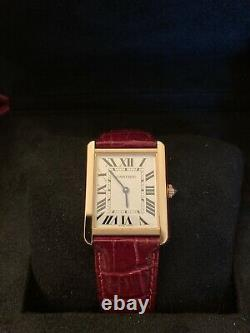 Cartier Tank Solo 18K Rose Gold Silver Face Model Watch W5200025 1 Month Old
