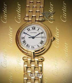 Cartier VLC 18k Yellow Gold Silver Roman Dial 30mm Ladies Quartz Watch 883964