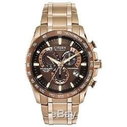 Citizen Eco-Drive Men's Perpetual Chronograph Rose Gold 42mm Watch AT4106-52X