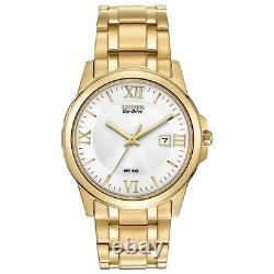 Citizen Eco-Drive Men's Roman Numerals Gold-Tone Bracelet 40mm Watch BM7262-57A