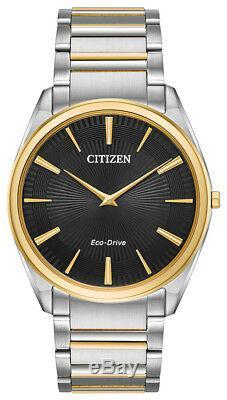 Citizen Eco-Drive Men's Stiletto Black Dial Two-Tone 38mm Watch AR3074-54E