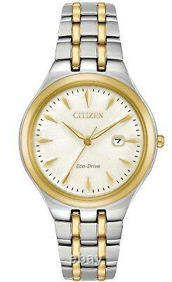 Citizen Eco-Drive Women's Corso White Dial Calendar Gold 32mm Watch EW2494-54A