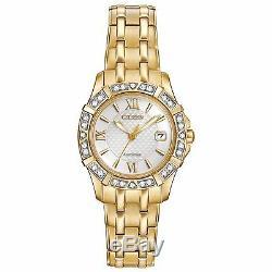 Citizen Eco-Drive Women's Diamond Accents Gold Tone Bracelet Watch EW2362-55A