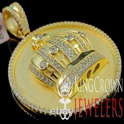 Custom Medallion Real Yellow Gold Silver Kings Crown Pendant Simu Diamond Charm