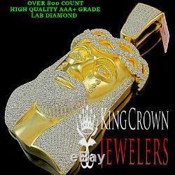 Custom Piece Yellow Gold Silver XL Jesus Face Pendant Charm Lab Diamond 4.25'