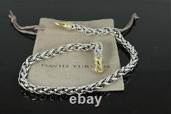 David Yurman 18K Yellow Gold Silver Pave Diamond 16'' Wheat Chain Large Necklace