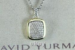 David Yurman 18K Yellow Gold Silver Pave Diamond Pendant Box Chain Necklace