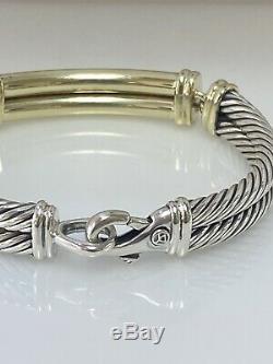David Yurman 8 Diamond 14k Yellow Gold/silver Metro Double Cable Ladies Bracelet