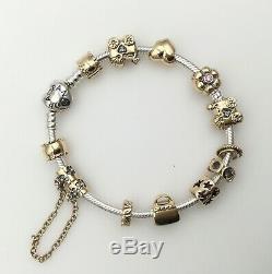 Designer PANDORA 14K Yellow Gold & Silver Bracelet 12 Gold Charms Estate Piece