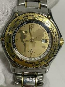 EBEL Voyager World Time 1124913 SS K18YG Gold SIlver Dial Band Automatic Men's