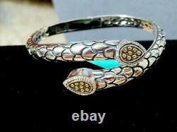 EFFY 925, 18K Yellow Gold/Silver Snake Crossover Diamond Bangle Bracelet