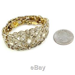 Edwardian Rose & Single Cut Diamond Bracelet in 14K Yellow Gold & Silver FJ