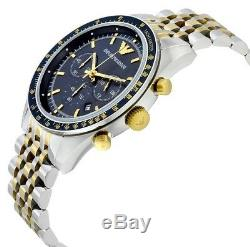 Emporio Armani AR6088 Navy Blue Dial Chronograph Silver Gold Tone Men's Watch