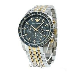 Emporio Armani AR6088 Navy Blue Dial Chronograph Silver Gold Tone Men's Watch