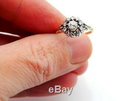 European Halo Ring 0.55 ctw Diamonds 18K Yellow Gold Silver Ø US6.5 / 2.3 gr