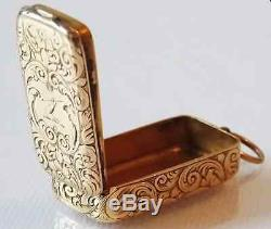 Extremely Rare Victorian 15k Yellow Gold Combination Vesta Case/pill Boxc. 1857