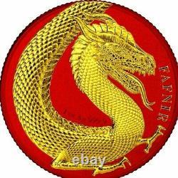 Fafnir Space Red & Yellow Gold Gilded Dragon 1 Oz 5 Mark Germania