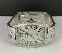 Franck Muller Curvex Sunset 2ct Diamond Bezel 18k White Gold Silver Dial 1752QZ