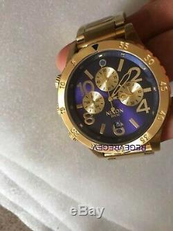 Genuine New NIXON Watch 48-20 CHRONO Gold Blue Sunray Surf Skate A486-1922 48MM