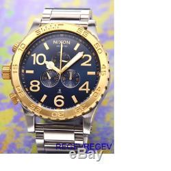 Genuine New Nixon A0831922 Gold Blue-sunray Watch 51-30 Chrono men box