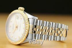 Genuine Rolex Mens Datejust 2-tone 18k Yellow Gold Diamond Quickset Watch