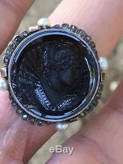 Georgian Era 18K Yellow Gold, Silver topped diamonds & Cameo Ring, French