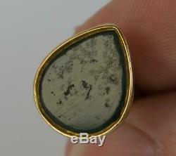 Georgian Yellow Gold & Pear Shaped Bloodstone Pocket Watch Fob Pendant t0423