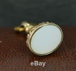Georgian Yellow Gold and Plain Chalcedony Pendant Seal Fob t0481