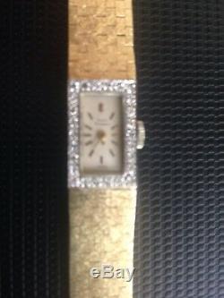 Girard Perregaux Vintage Ladies 14k Solid Yellow Gold Silver Dial W Diamonds