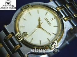 Good! Gucci 9000m Gold Silver Ivory Date Men's Vintage Swiss Made Watch
