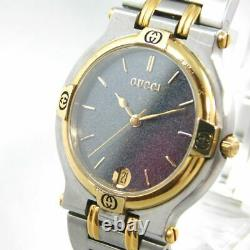 Gucci 9000m Gold Silver Black Date Men's Vintage Swiss Made Watch