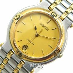 Gucci 9000m Gold Silver Date Men's Vintage Swiss Made Watch