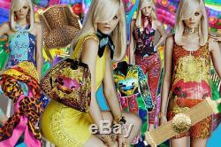 H&m Versace Dress Yellow Silk Gold Silver Stud Emellished Uk 10 Eur 36 Us 6 Ca 6
