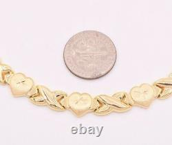 Hearts & Kisses Diamond Cut Stampato Necklace 14K Yellow Gold Clad Silver 925