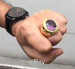 Huge Amethyst Cross Christian Bishop 14k Yellow Gold Silver Men's Ring Jewelry
