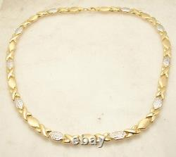 Hugs & Kisses Stampato Chain Necklace 10K Yellow White Gold Clad 925 Silver