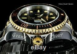 Invicta 47mm Grand Diver AUTOMATIC BLACK Dial Two Tone Gold Tone Bracelet Watch