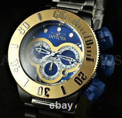 Invicta 52mm Subaqua Sea Dragon Chronograph BLUE DIAL Gold Bezel Silver SS Watch