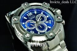 Invicta 63mm Men's Reserve Grand ARSENAL Swiss Chrono BLUE DIAL Silver SS Watch