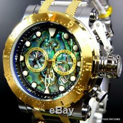 Invicta Coalition Forces Steel Abalone Chronograph 52mm Gold Two Tone Watch New