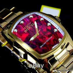 Invicta Grand Lupah Purple Abalone Gold Plated Steel Special Edition Watch New