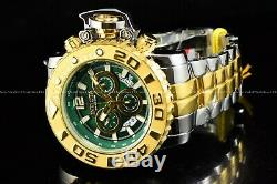 Invicta Men 70mm Full Sea Hunter Green Swiss Two Tone Gold Silver Plated Watch