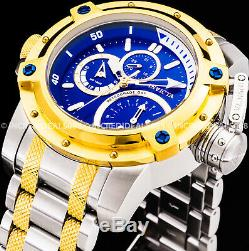 Invicta Men Coalition Forces Chronograph Blue Gold Silver Retrograde SS Watch