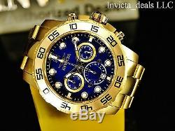 Invicta Men's 50mm Pro Diver Chronograph Blue Dial Gold Tone SS Watch