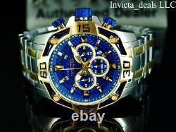 Invicta Men's 52mm Pro Diver SCUBA Chrono BLUE FIBER GLASS DIAL Gold 2Tone Watch