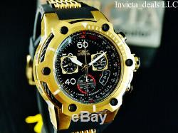 Invicta Mens 50mm Bolt Swiss Z60 Chronograph Black Dial 18K Gold Plated SS Watch