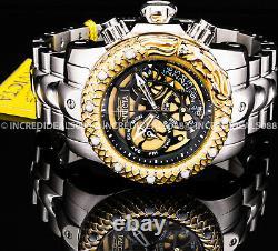 Invicta VENOM SUBAQUA DRAGON SWISS Chronograph 18K Gold Silver 52mm Mens Watch