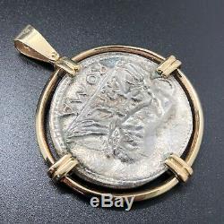 Julius Caesar Dictator Roma 14K Yellow Gold Silver Diamond Custom Coin Pendant