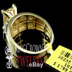 Ladies 10K Yellow Gold Silver Princess Cut Diamond Bridal Engagement Ring 1.00Ct