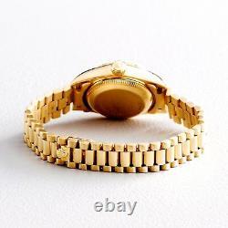 Ladies Rolex 18K Gold Datejust President Watch FACTORY Black Diamond Dial 69178